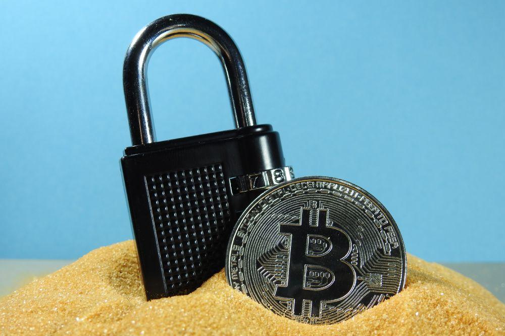 bitcoin next to a lock