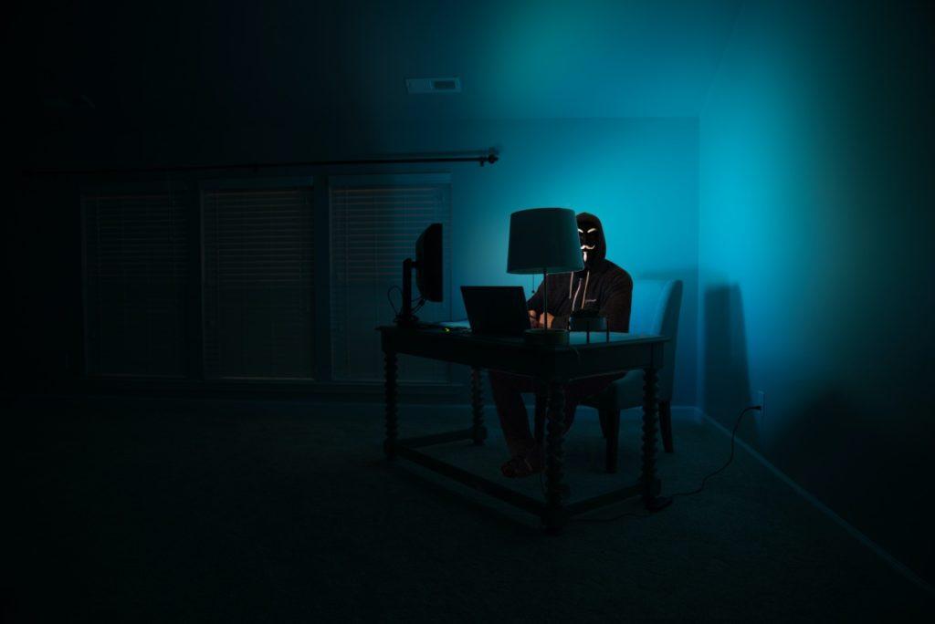 hacker on his laptop